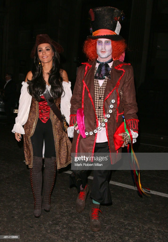 Frankie Sandford and Wayne Bridge attending Rochelle Humes' Disney themed birthday party at Steam and Rye restaurant and club on March 29 2014 in...