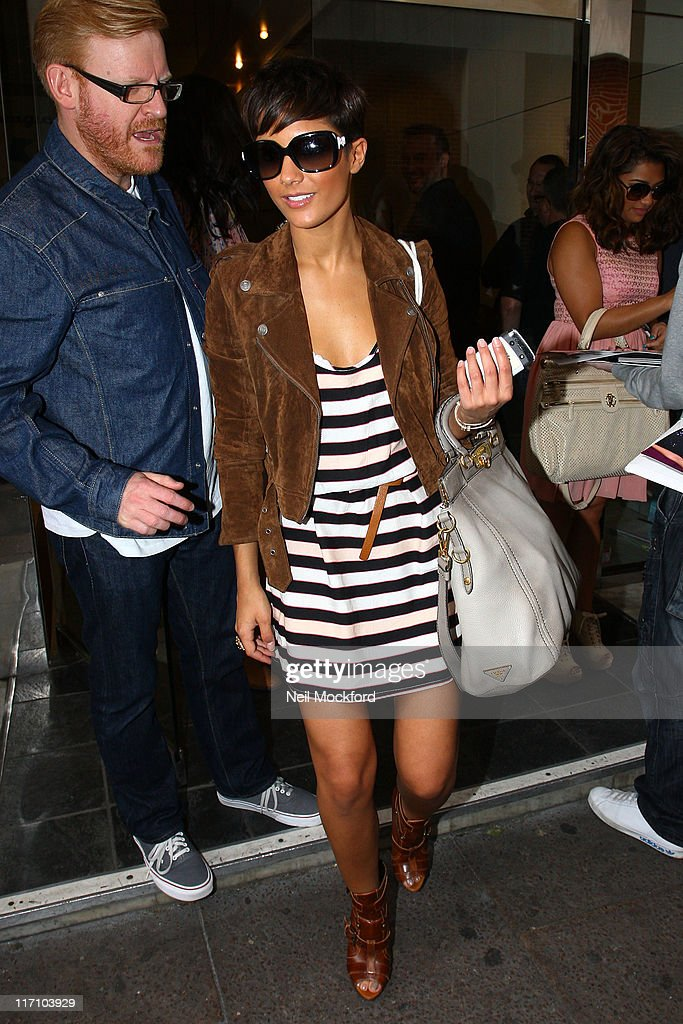Frankie Sandford from 'The Saturdays' sighted leaving KISS FM on June 22, 2011 in London, England.
