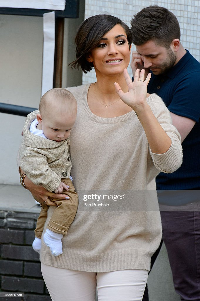 Frankie Sandford of The Saturdays and her son Parker Bridge sighted at ITV Studios on April 9 2014 in London England