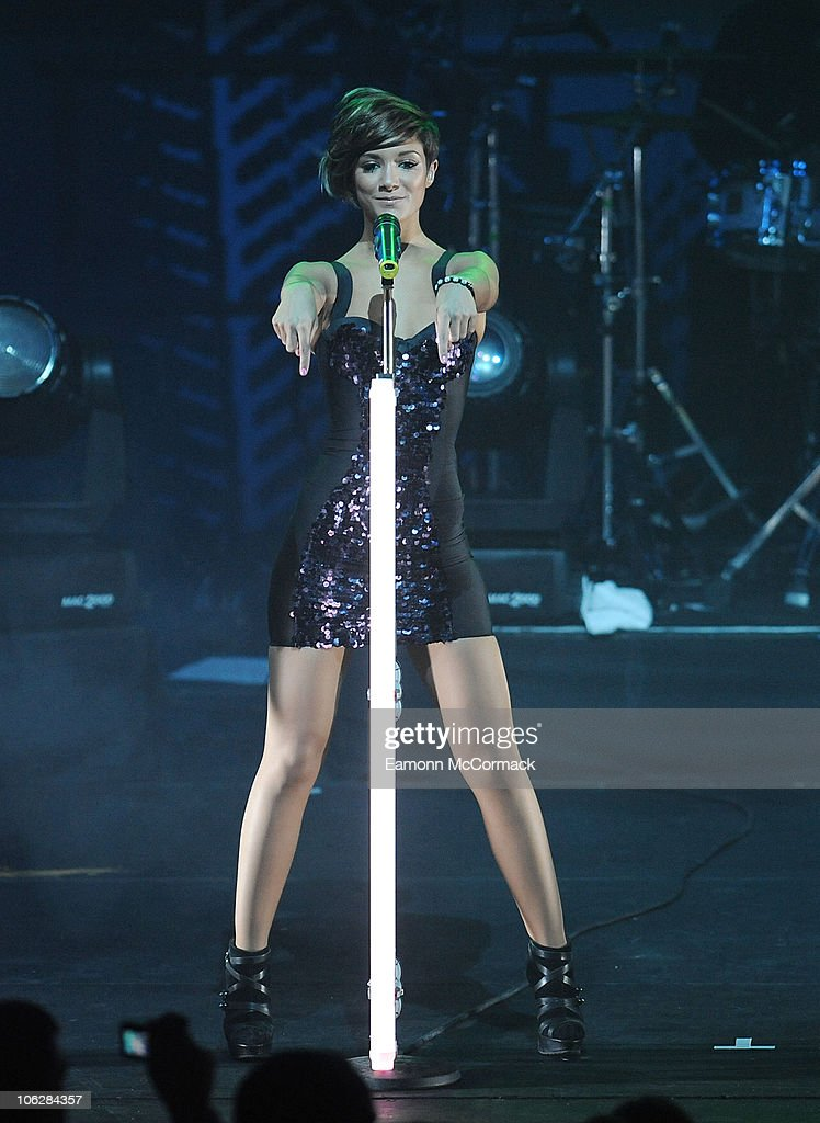 Frankie Sandford of The Saturdays perform at and launch annual Poppy Appeal at The Physical Training and Recreation Centre on October 28 2010 in...