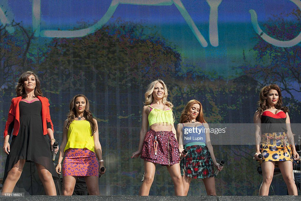 Frankie Sandford, Rochelle Humes, Mollie King, Una Healey and Vanessa White of The Saturdays perform at day 3 of British Summer Time Hyde Park presented by Barclaycard at Hyde Park on July 7, 2013 in London, England.
