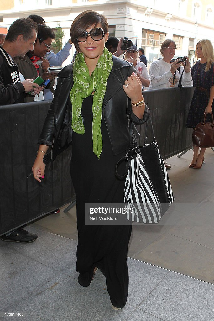 Frankie Sandford seen arriving at BBC Radio One on August 19, 2013 in London, England.