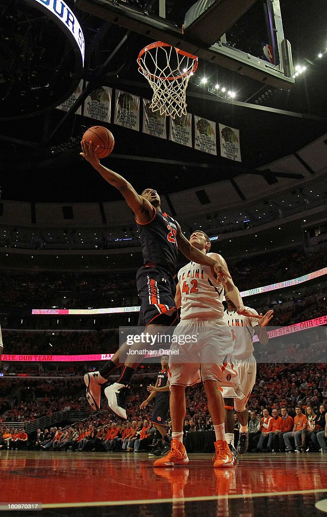 Frankie Sullivan #23 of the Auburn Tigers rebounds against Tyler Griffey #42 of the Illinois Fighting Illini at United Center on December 29, 2012 in Chicago, Illinois. Illinois defeated Auburn 81-79. Photo by Jonathan Daniel/Getty Images)