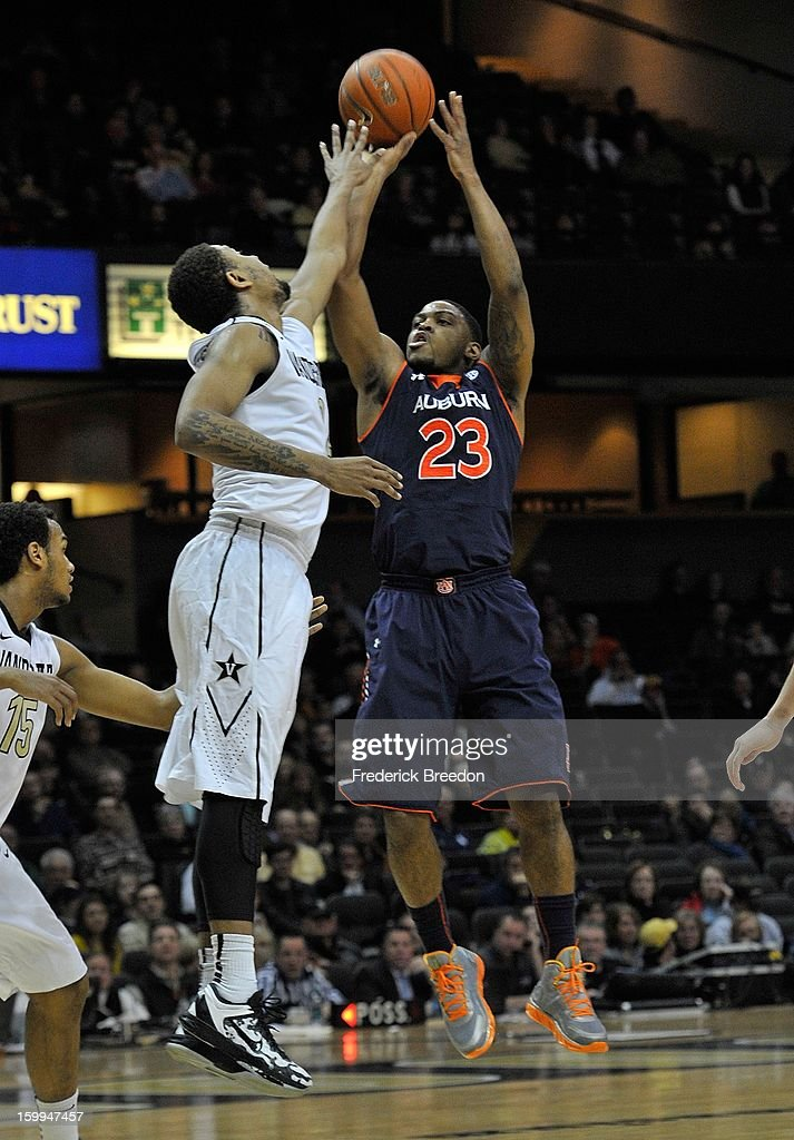 Frankie Sullivan #23 of the Auburn Tigers shoots over Kedren Johnson #2 of the Vanderbilt Commodores at Memorial Gym on January 23, 2013 in Nashville, Tennessee.