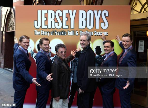 Frankie Valli and original Four Season Bob Gaudio with the cast from left Philip Bullock who plays Nicl Massi Glenn Carter who plays Tommy Devito...