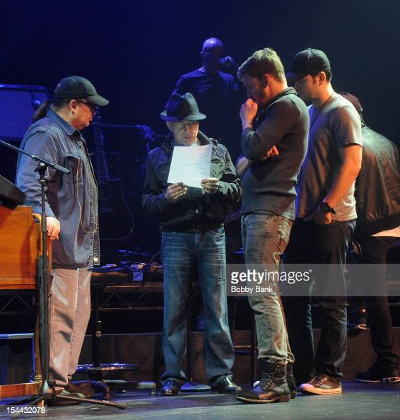 Frankie Valli and The Four Seasons performs at Frankie Valli And The Four Seasons 50th Anniversary Celebration rehearsals at the Broadway Theatre on...