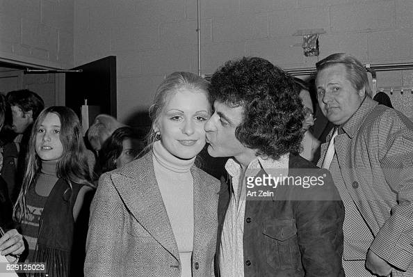Frankie Valli kissing a young lady circa 1970 New York