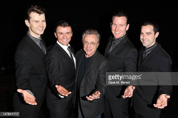 Frankie Valli visits the cast of 'Jersey Boys' backstage at the Prince Edward Theatre on July 4 2012 in London England
