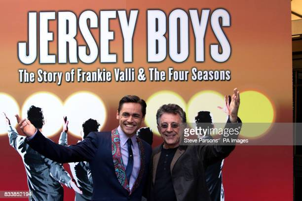 Frankie Valli with Ryan Molloy who plays him launch the award winning Broadway Musical 'Jersey Boys' at the Prince Edward Theatre in central London