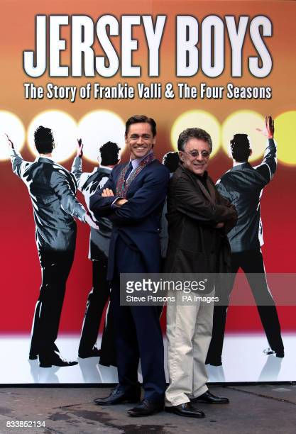 Frankie Valli with Ryan Molloy who plays him launche the award winning Broadway Musical quotJersey Boysquot at the Prince Edward Theatre in central...