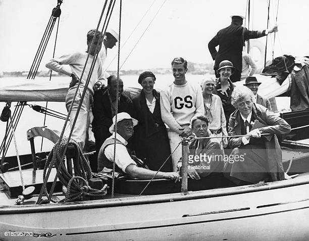 Franklin and Eleanor Roosevelt aboard their yacht the Amberjack II sailing from Marion Massachusetts to Campobello Island in Canada