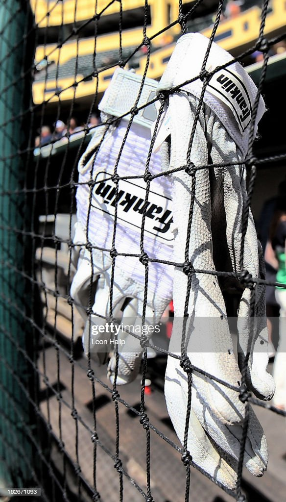 Franklin batting gloves are shown prior to the start of the game between the Detroit Tigers and the Atlanta Braves on February 22, 2013 in Lake Buena Vista, Florida. The Tigers defeated the Braves 2-1.