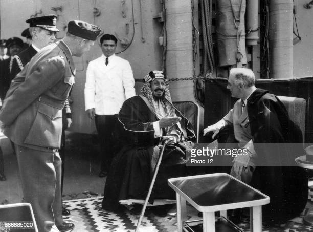 Franklin D Roosevelt and King Ibn Saud of Saudi Arabia at Great Bitter Lake in Egypt Record creator Franklin Delano Roosevelt Date 14 February 1945
