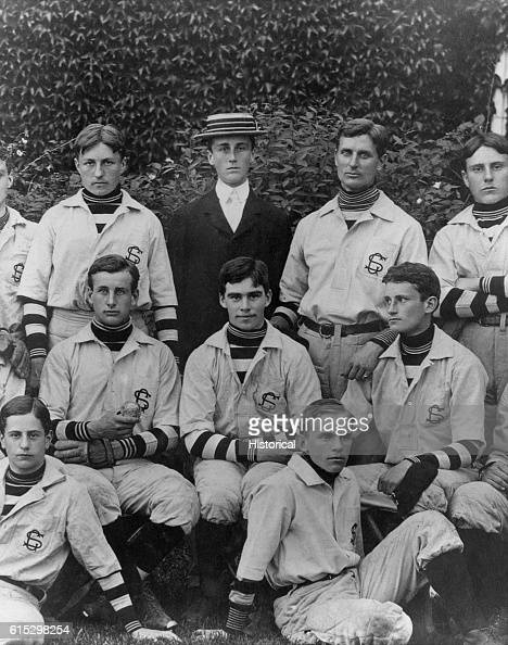 Franklin D Roosevelt and members of the baseball team he managed at the Groton School in Massachusetts