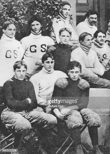 Franklin D Roosevelt as a teenager with his school football team at Groton School FDR 32nd President of the United States led the US during WW2 30...