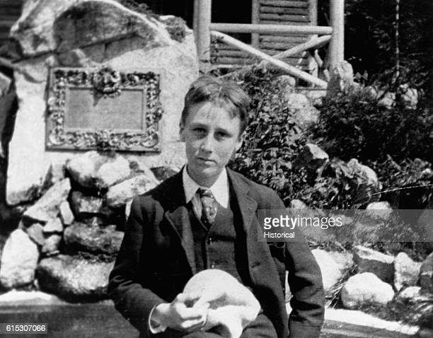 Franklin D Roosevelt sits by a rock garden during a summer trip to Germany to attend a Volksschule or people's school