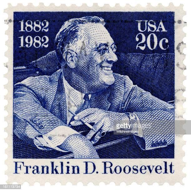 Franklin D. Roosevelt Smiling Seated in Car Postage Stamp