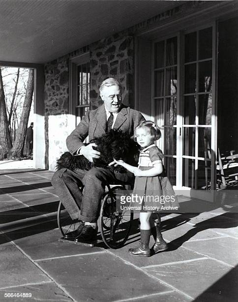 Franklin D Roosevelt with Fala his dog and Ruthie Bie in Hyde Park New York 1941 There were few images taken showing President Roosevelt in his...