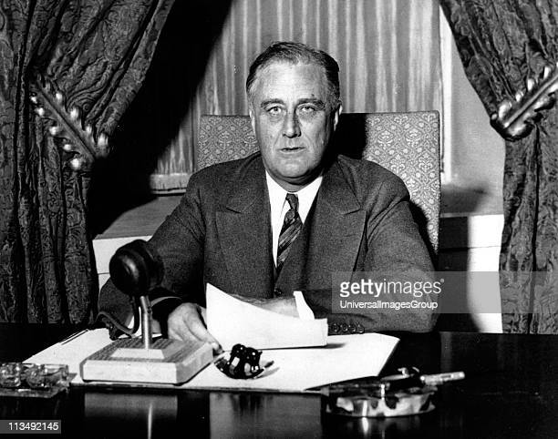 Franklin Delano Roosevelt 32nd President of the United States of America 19331945 giving one of his 'fireside' broadcasts to the American nation...