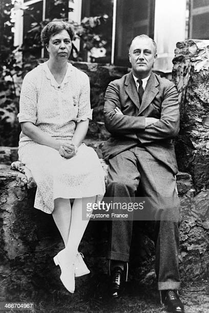 Franklin Delano Roosevelt and wife Eleanor in their estate of Warm Springs in November 1932 in Georgia United States