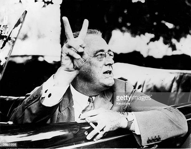 Franklin Delano Roosevelt the 32nd President of the United States at his estate in Hyde Park New York
