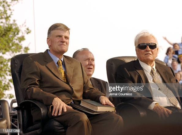 Franklin Graham and Billy Graham during Billy Graham's Farewell Message of his Last Crusade at Flushing Meadows Park in New York City New York United...