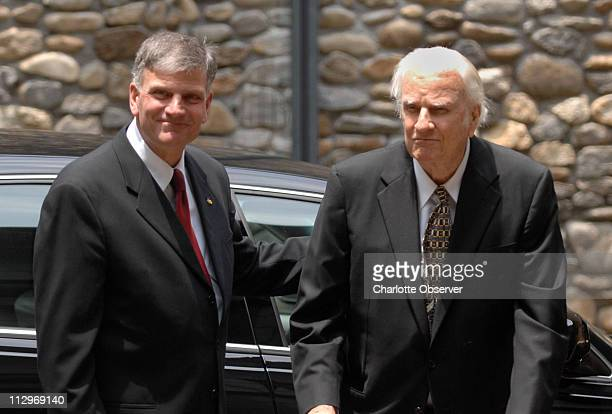 Franklin Graham left escorts his father Billy Graham prior to the funeral for their beloved Ruth Graham at Anderson Auditorium at the Montreat...