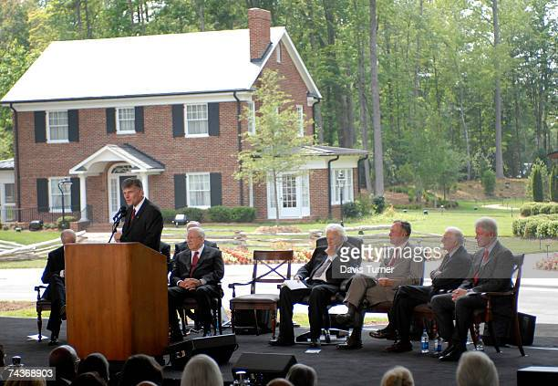Franklin Graham son of evangelist Billy Graham addresses the audience from the stage during the Billy Graham Library Dedication Service on May 31...