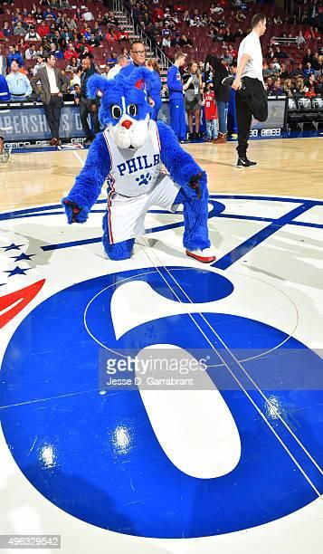 Franklin Mascot of the Philadelphia 76ers looks on against the Orlando Magic at Wells Fargo Center on November 7 2015 in Philadelphia Pennsylvania...