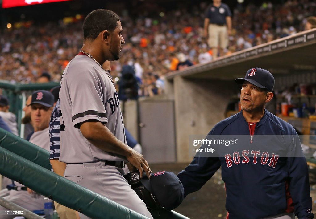 <a gi-track='captionPersonalityLinkClicked' href=/galleries/search?phrase=Franklin+Morales&family=editorial&specificpeople=4175198 ng-click='$event.stopPropagation()'>Franklin Morales</a> #56 of the Boston Red Sox leaves the game in the seventh inning and is greeted by pitching coach Juan Nieves #47 during the game against the Detroit Tigers at Comerica Park on June 22, 2013 in Detroit, Michigan. The Tigers defeated the Red Sox 10-3.