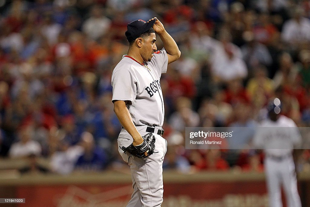 <a gi-track='captionPersonalityLinkClicked' href=/galleries/search?phrase=Franklin+Morales&family=editorial&specificpeople=4175198 ng-click='$event.stopPropagation()'>Franklin Morales</a> #46 of the Boston Red Sox on the mound against the Texas Rangers at Rangers Ballpark in Arlington on August 23, 2011 in Arlington, Texas.