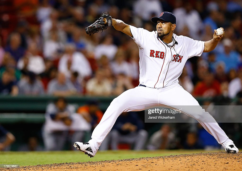 <a gi-track='captionPersonalityLinkClicked' href=/galleries/search?phrase=Franklin+Morales&family=editorial&specificpeople=4175198 ng-click='$event.stopPropagation()'>Franklin Morales</a> #56 of the Boston Red Sox pitches against the Detroit Tigers during the game on September 4, 2013 at Fenway Park in Boston, Massachusetts.