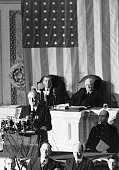 Franklin Roosevelt asks a joint session of Congress for a declaration of war on the Empire of Japan the day after the Japanese attacked the US Navy...
