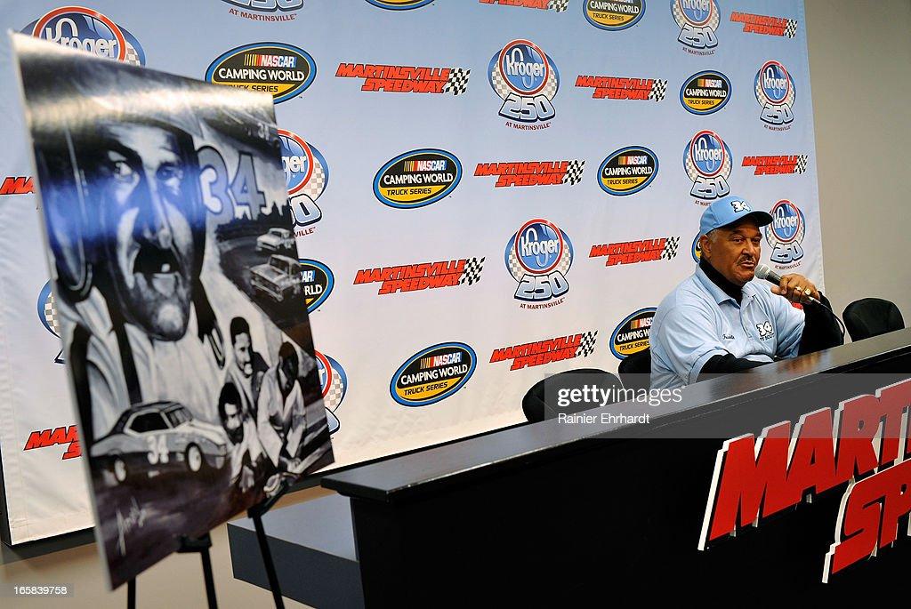 Franklin Scott, son of former NASCAR driver Wendell O. Scott Sr., speaks during a media event on April 6, 2013 at Martinsville Speedway in Ridgeway, Virginia.