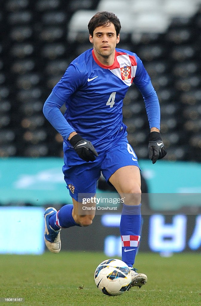 Franko Andijasevic of Croatia attacks during the International Friendly match between Croatia and Korea Republic at Craven Cottage on February 6, 2013 in London, England.