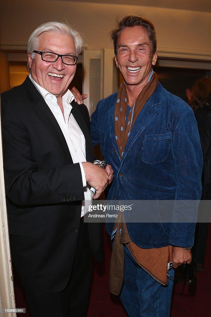Frank-Walter Steinmeier and Wolfgang Joop attend the 'Die Wand' Berlin preview at Astor Lounge on October 8, 2012 in Berlin, Germany.