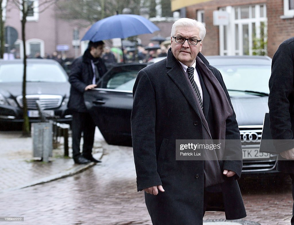 <a gi-track='captionPersonalityLinkClicked' href=/galleries/search?phrase=Frank-Walter+Steinmeier&family=editorial&specificpeople=603500 ng-click='$event.stopPropagation()'>Frank-Walter Steinmeier</a> (SPD) arrives at a memorial service for former German Defence Minister Peter Struck on January 3, 2013 in Uelzen, Germany. Struck was a leading member of the German Social Democrats (SPD) and died in December following a heart attack.