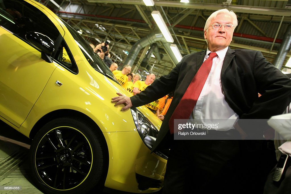 Frank-Walter Steinmeier, German Foreign Minister and top candidate of the Social Democrates (SPD) for the general elections visits a plant of German carmaker Adam Opel GmbH on May 4, 2009 in Eisenach, Germany. Representatives of the German government, officials of car manufacturer Opel and managers of Italian carmaker Fiat will meet today in Berlin to discuss a merger between Fiat, Opel and U.S. carmaker Chrysler.