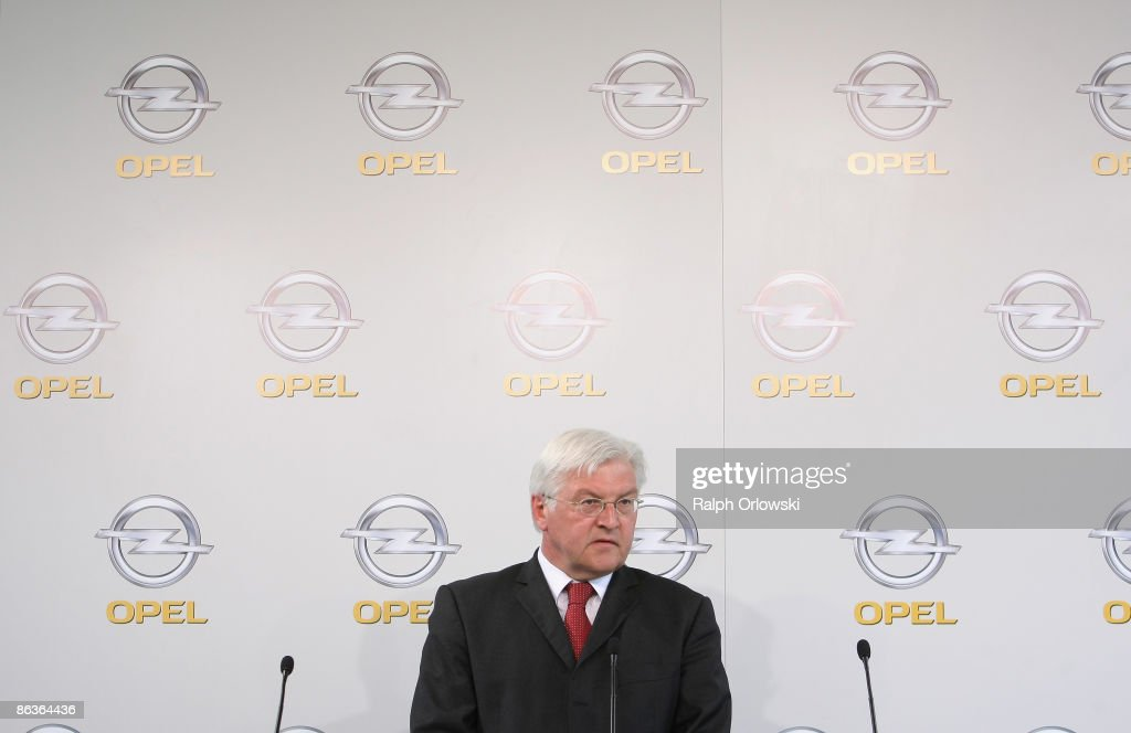 Frank-Walter Steinmeier, German Foreign Minister and top candidate of the Social Democrates (SPD) for the general elections addresses to the media during a visit of a plant on May 4, 2009 in Eisenach, Germany. Representatives of the German government, officials of car manufacturer Opel and managers of Italian carmaker Fiat will meet today in Berlin to discuss a merger between Fiat, Opel and U.S. carmaker Chrysler.
