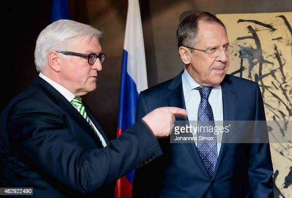 FrankWalter Steinmeier German minister of foreign affairs and Russian minister of foreign affairs Sergey V Lavrov attend a bilateral meeting at the...