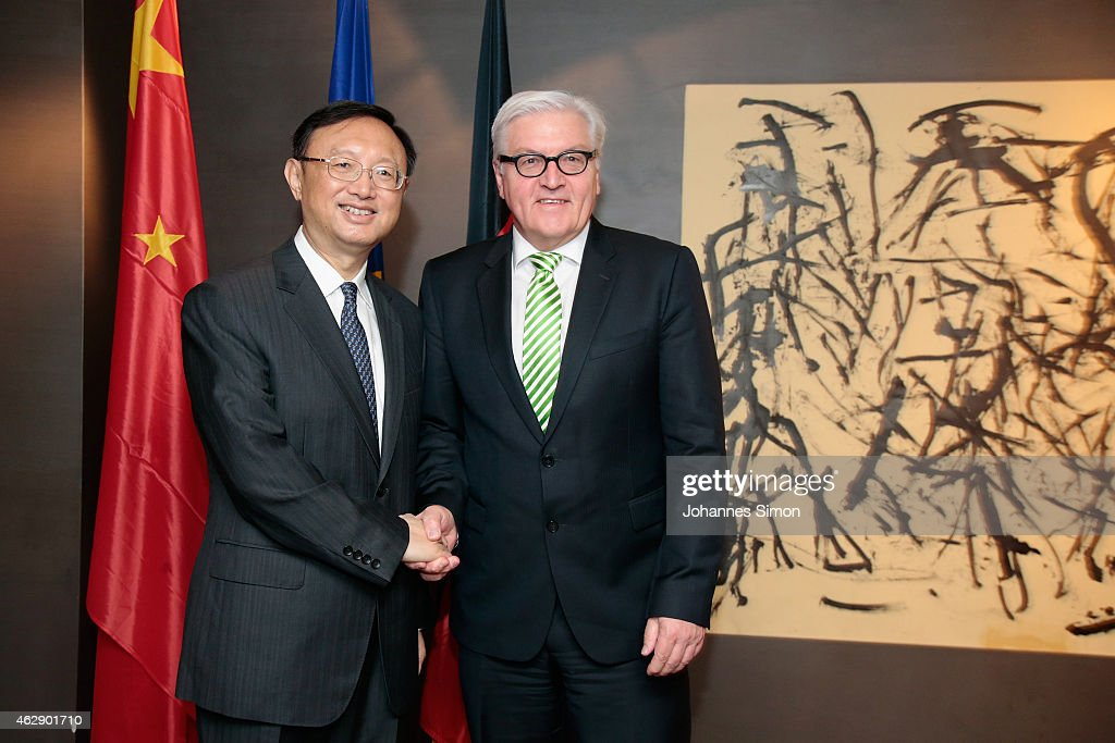 <a gi-track='captionPersonalityLinkClicked' href=/galleries/search?phrase=Frank-Walter+Steinmeier&family=editorial&specificpeople=603500 ng-click='$event.stopPropagation()'>Frank-Walter Steinmeier</a> (R), German minister of foreign affairs and <a gi-track='captionPersonalityLinkClicked' href=/galleries/search?phrase=Yang+Jiechi&family=editorial&specificpeople=555098 ng-click='$event.stopPropagation()'>Yang Jiechi</a>, state councilor of the People's Republic of China shake hands ahead of a bilateral meeting at the 51st Munich Security Conference (MSC) on February 7, 2015 in Munich, Germany. Foreign ministers and defense ministers from countries across the globe are meeting to discuss current global security issues, in particular the crisis in eastern Ukraine, the spread of ISIS in Syria and Iraq and the large-scale movement and plight of refugees.