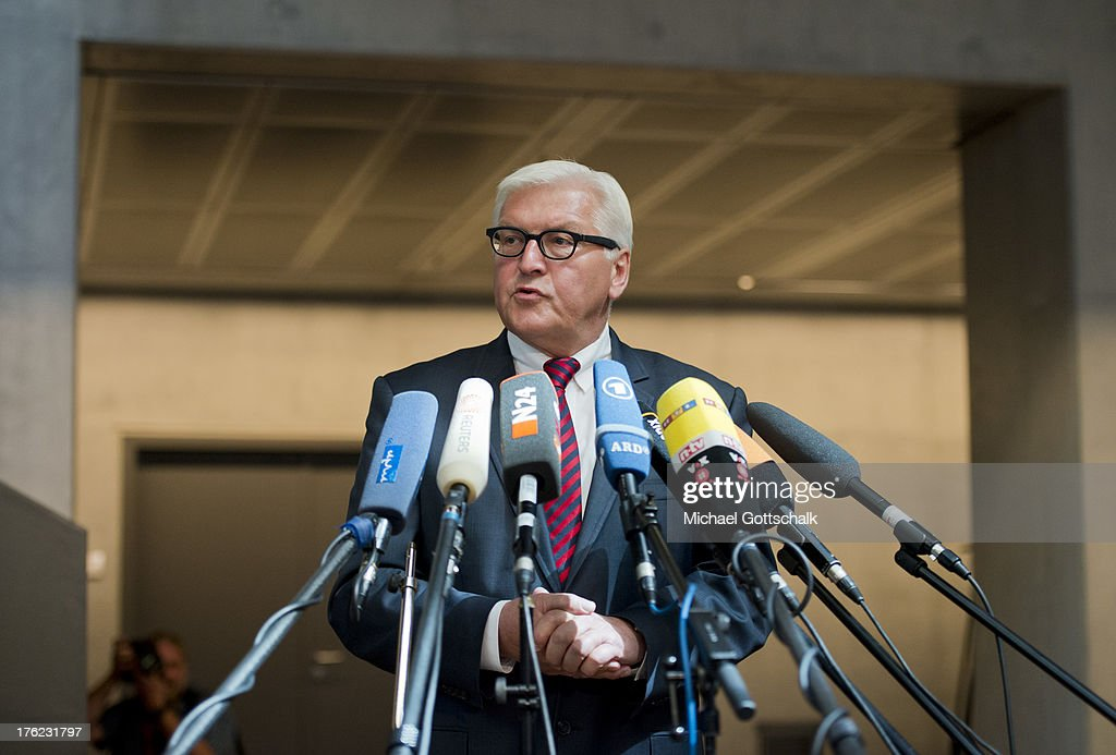 Frank-Walter Steinmeier, German Social Democrat (SPD), speaks to the media after the government cancelled an offer for Steinmeier to testify at a hearing of the parliamentary control commission (Parlemantariches Kontrollgremium) of the Bundestag on August 12, 2013 in Berlin, Germany. The commission is investigating to what extend the Bundesnachrichtendienst (BND), the German foreign intelligence gathering agency, shared information with the NSA. Steinmeier was Chancellery Minister in the previous German government and was privy to an agreement between German and U.S. intelligence agencies over data sharing at the time.