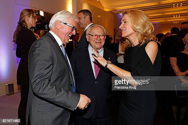 FrankWalter Steinmeier Hubert Burda and Maria Furtwaengler during the VDZ Publishers' Night 2016 at Deutsche Telekom's representative office on...