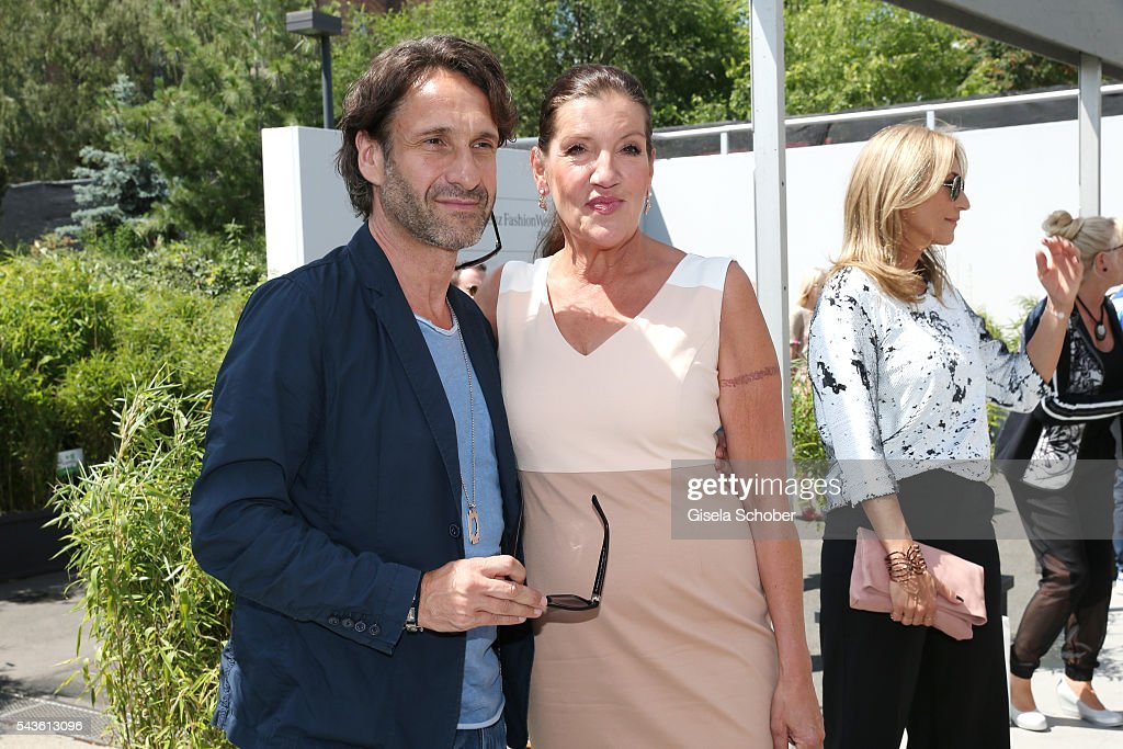 Frank-Willy Wild and Katy Karrenbauer attend the Minx by Eva Lutz show during the Mercedes-Benz Fashion Week Berlin Spring/Summer 2017 at Erika Hess Eisstadion on June 29, 2016 in Berlin, Germany.