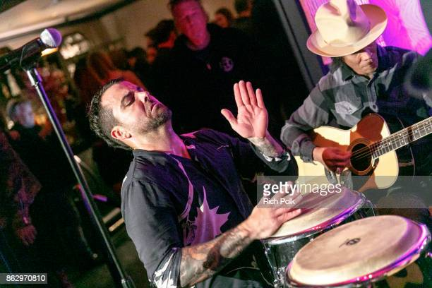 Franky Perez performs on stage with the Hellcat Saints at An Evening With Rhonda's Kiss Charity at Beauty Essex on October 18 2017 in Los Angeles...