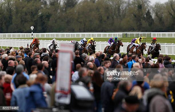 Franny Norton riding Englishman win The 5 Star Gallop Handicap Stakes at Windsor Racecourse on April 18 2016 in Windsor England