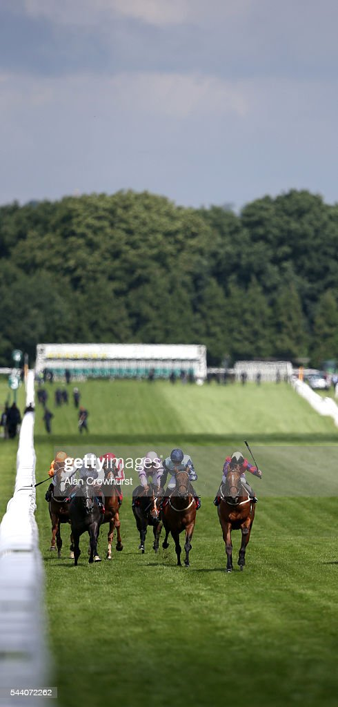 Franny Norton riding The Last Lion (R, red) win The RacingUK/Daypass Dragon Stakes at Sandown Park on July 01, 2016 in Esher, England.
