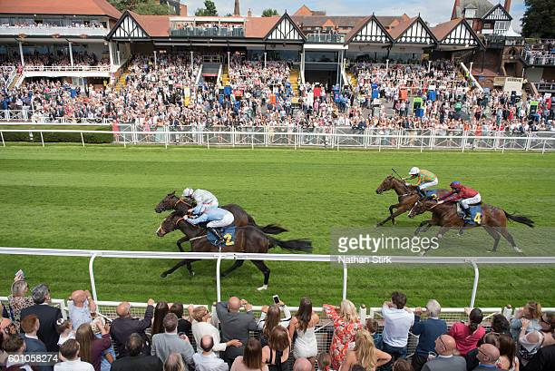 Franny Norton riding Thomas Cranmer Pat Dobbs riding Devil's Bridge during the Caldwell Construction EBF Maiden Stakes at Chester racecourse on July...