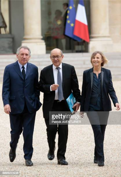 François Bayrou France's minister for justice Marielle de Sarnez France's minister for European affairs and JeanYves Le Drian France's minister for...