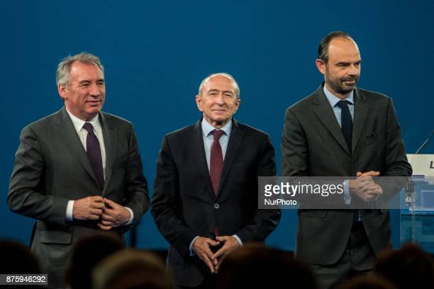 François Bayrou Gérard Collomb Edouard Philippe during the council of the Republic on the Move party at Eurexpo Lyon France on November 18 2017...
